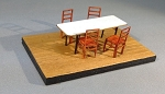 HO Scale: Hall Tables and Chairs (4 Tables, 16 Chairs)