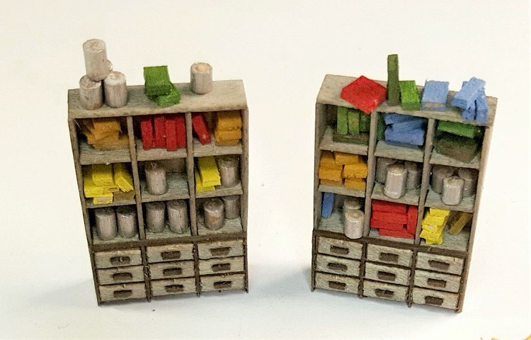 HO Scale: Shop Cabinets with Drawers (4 Cabinets)