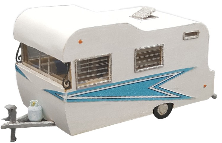 HO Scale: 1960's 17 foot TeePee Travel Trailer